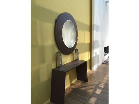 CS/CM-15843 - Brown Wooden Modern Console & Round Mirror