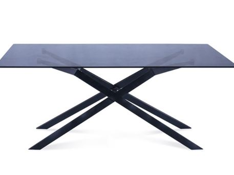6124DT - Black Metal Based Table With Smoked Tempered Glass Top