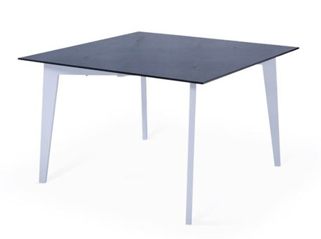 6266DT - White Metal Based Square Table With Smoked Tempered Glass Top