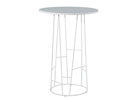 6537BT - White Metal Based High Table With Wooden Top