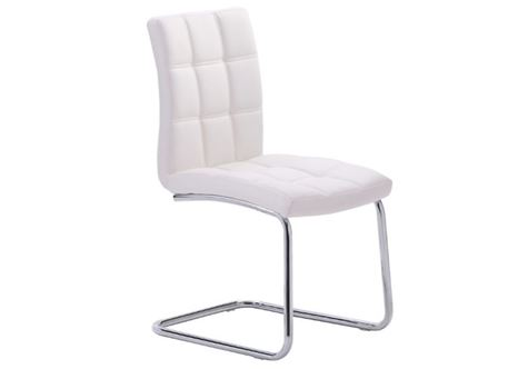 8701CH - PU Leather Dining Chair With Chrome Plated Metal Frame.