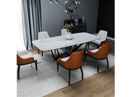 JEPA - White Marble Dining Table with Black Metal Base