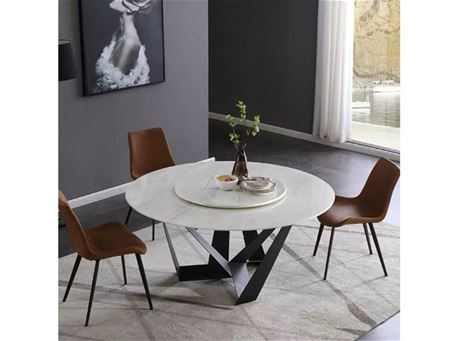 TALAR - White Round Marble Table With Black Metal Base