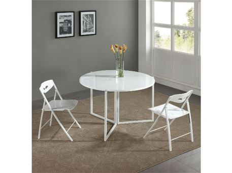 B2389-3 - Foldable Glossy White Round Dining Table