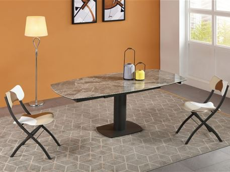 B2417-3 - Grey Ceramic Dining Table With Extensions