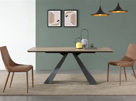 B2415-3 - Modern Rectangular Dining Table With Metal Base