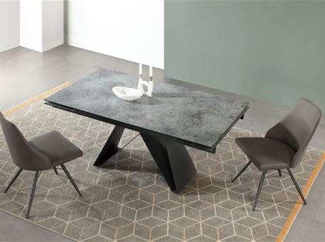 B2471 - Rectangular Grey Dining Table With Extension