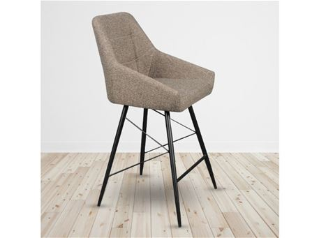 C-1067 - Fabric Or Leather Seat Bar Stool With Metal Legs.