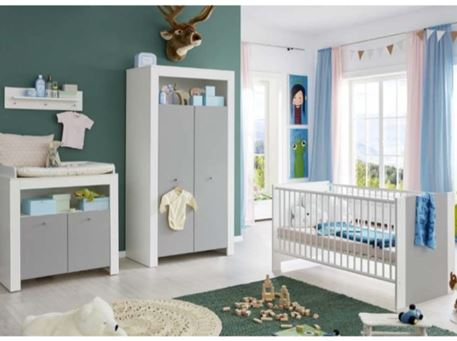 PIA - Full Set White & Grey Baby Bedroom