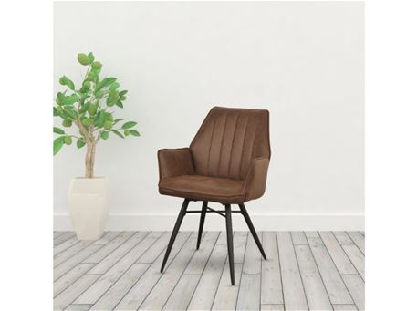 TDC-24 - Brown Nubuk Dining Chairs With Arms