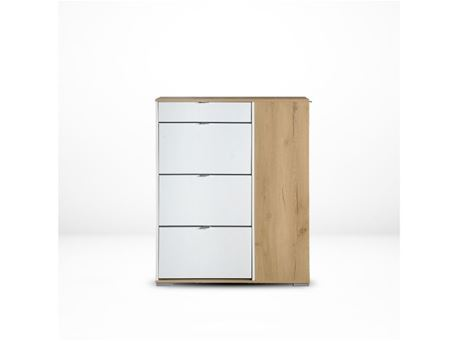 NS0095 - Simple Oak & White Shoe Cabinet