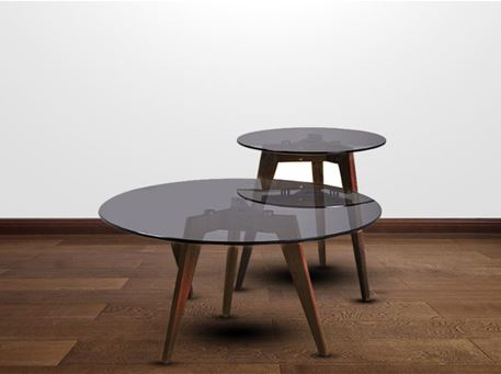 NS0192 - Round Clear Or Grey Glass Center& Side Tables