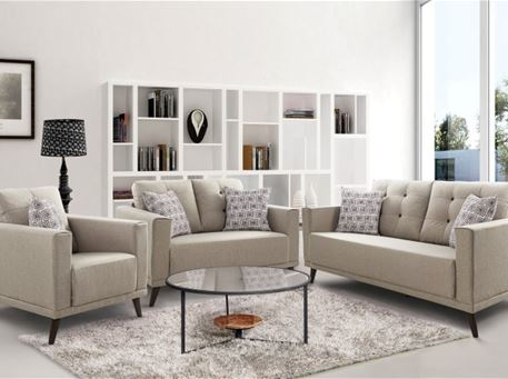 SOUTHAMPTON - Compact Beige Living Set With Patterned Cushions