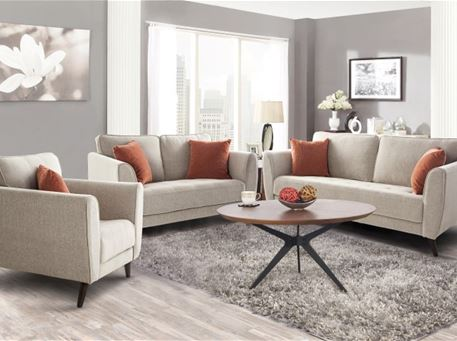 WESTMINSTER - Compact Beige Living Set With Orange Cushions.