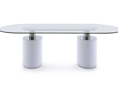 MILIA - Oval Glass Top Modern White Dining Table Set