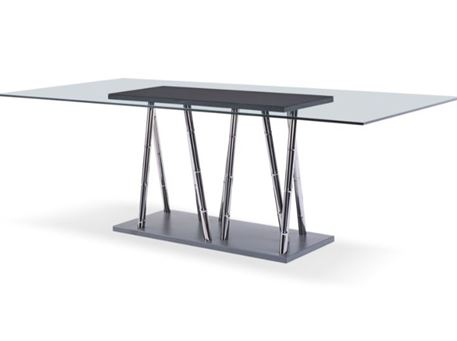 YANCY - Rectangular Glass Top Grey Dining Table Set
