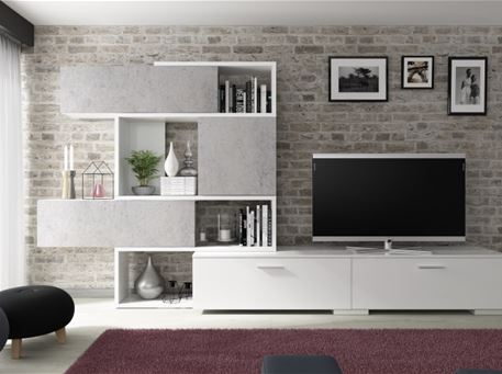 4K-8019 - Grey & White Tv Cabinet.