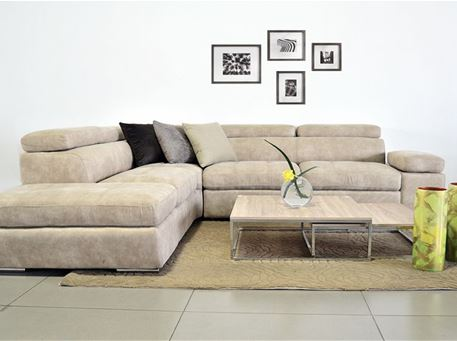CASABLANCA - Contemporary Greige Leather L-Shaped Sofa