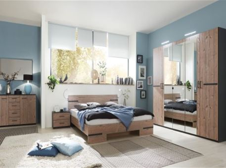 ANNA - Contemporary Oak And Grey King Size Bedroom Set