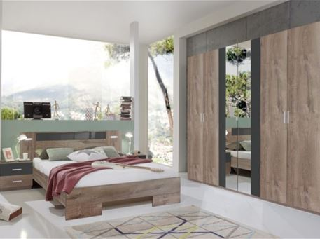 ANDREA - Contemporary Oak And Grey King Size Bedroom Set
