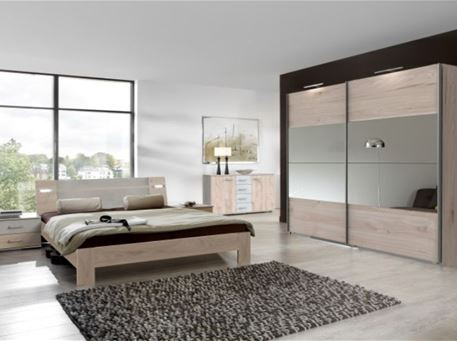 NEPAL - Contemporary Light Oak And Grey King Size Bedroom Set
