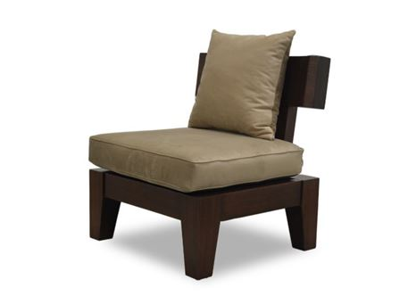 ALEA - Wooden Based Armchair With A Movable Seat & Back Cushion