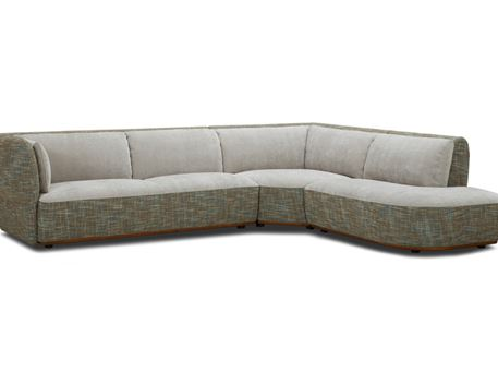 MARINO - Modern Grey L-Shaped Sofa With Green Cushions
