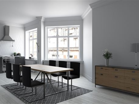 BERLIN - Simple Modern Light Oak With Black Metal Dining Set