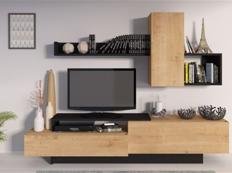 COSMIT - Oak & Black Simple Modern TV Unit
