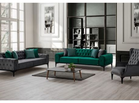 LOTUS - Grey And Green Living Room Set