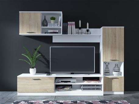 9107 - Light Oak & White Modern Tv Unit