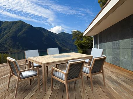 BIANCO - Rectangular Outdoor Teak Wood Table With Matching Chairs