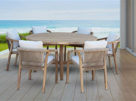 RIMINI - Outdoor Round Teak Wood Dining Table