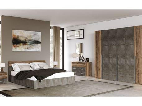MANUELA - Queen Size Bedroom Set Walnut & Grey.
