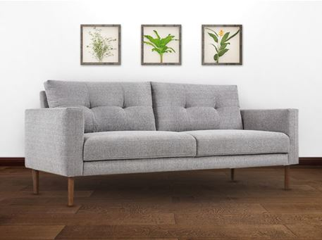 ELODIE - Simple Modern Grey Sofa With Yellow Cushions