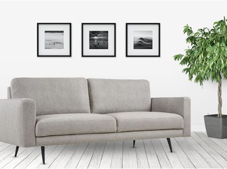 ODILE - Simple Modern Grey Sofa With Green Patterned Cushions