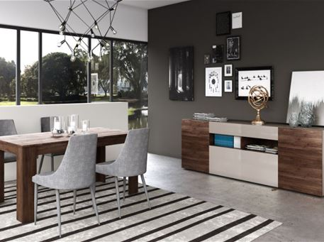 DAKI - Walnut Dining Room Set, Table With Extension