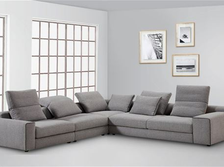 KENNY - Grey Modern L-Shape Sofa With Movable Back