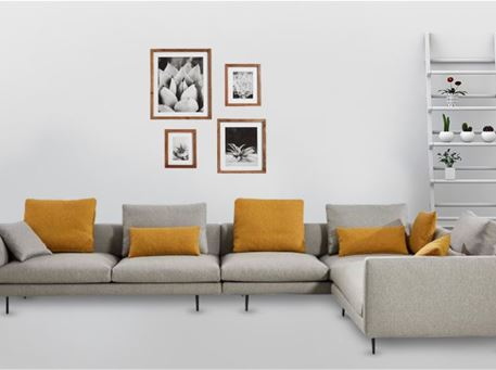 MATIAS - Light Grey With Yellow Cushions L-Shaped Sofa