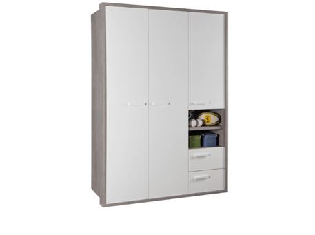 BRUNO - 3 Doors White And Grey Closet