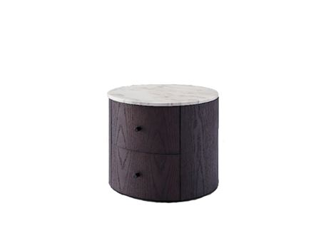 H4-G2093 - Round Night Table With Natural White Marble Top