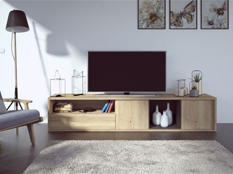 1474 - Simple Oak Tv Cabinet