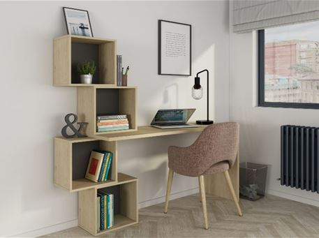 9180 - Light Oak Studying Desk With Storage Boxes