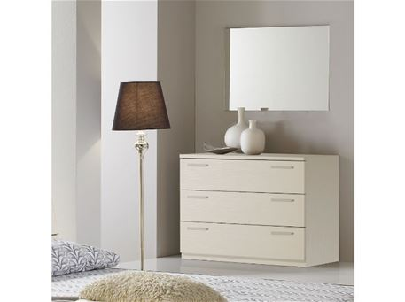 FASHION - Off White Dresser With 3 Drawers & A Mirror To Match