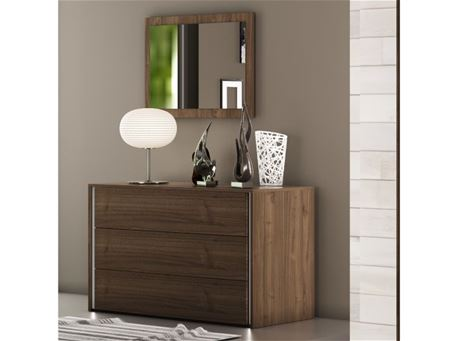 NIGHT - Walnut 3 Drawers Dresser With A Mirror To Match