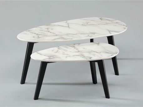 AZEGLIO - Set Of 2 Nesting Coffee Tables With Marble-Like Finish