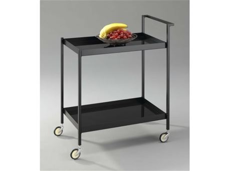 PADOVANI - Black Steel Frame With Tempered Glass Trolley