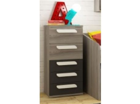 COMPACT - Grey Chest Of 5 Drawers