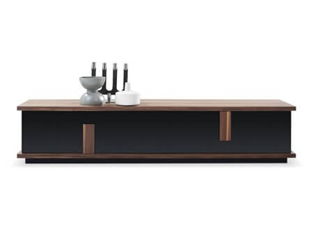 TV049 - Walnut & Black Tv Cabinet