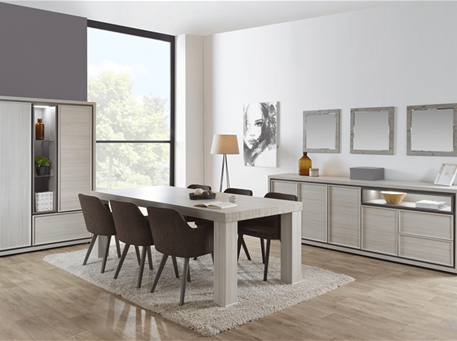 FRAME - Modern Light Grey Oak Dining Room Set